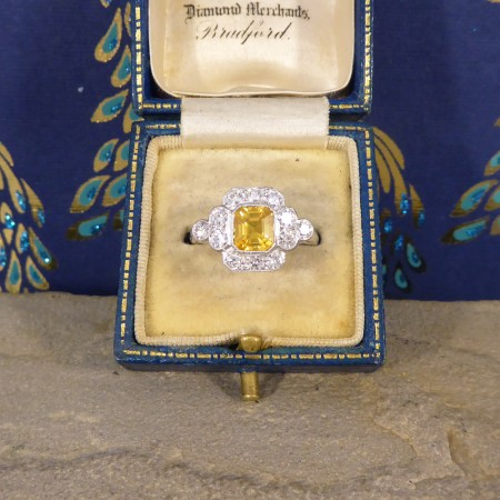Contemporary 1.50ct Yellow Sapphire and Diamond Cluster Ring in Platinum