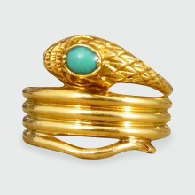 SOLD Late Victorian Lightweight Turquoise set Snake Ring in Yellow Gold
