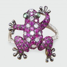 Contemporary Frog Ring in 18ct White Gold with Rubies, Diamonds and Gem Set Eyes