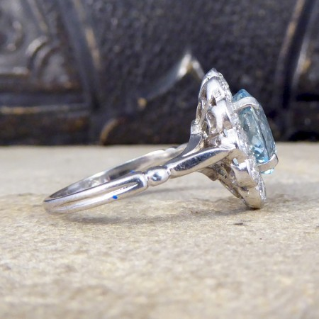 2.50ct Aquamarine and Diamond Cluster Ring in 18ct White Gold