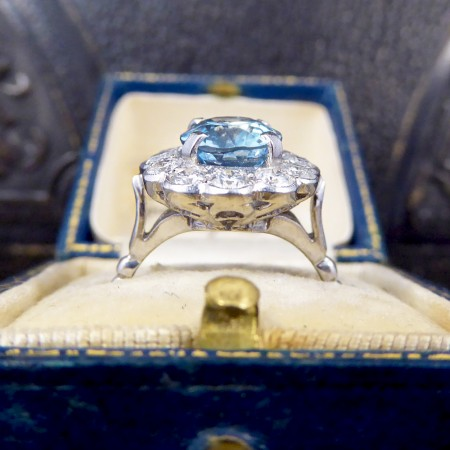 SOLD 2.50ct Aquamarine and Diamond Cluster Ring in 18ct White Gold