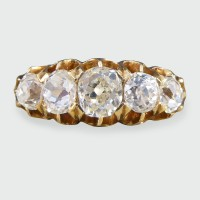 Edwardian Five Stone 1.85ct Old Cut Diamond Ring in 18ct Yellow Gold