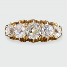 SOLD Edwardian Five Stone 1.85ct Old Cut Diamond Ring in 18ct Yellow Gold