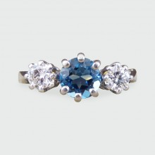 SOLD Edwardian Blue Zircon and Diamond Three Stone Ring in 18ct Yellow and Platinum