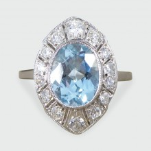 Contemporary Art Deco Style 1.30ct Aquamarine and Diamond Marquise Shaped Cluster Ring in Platinum