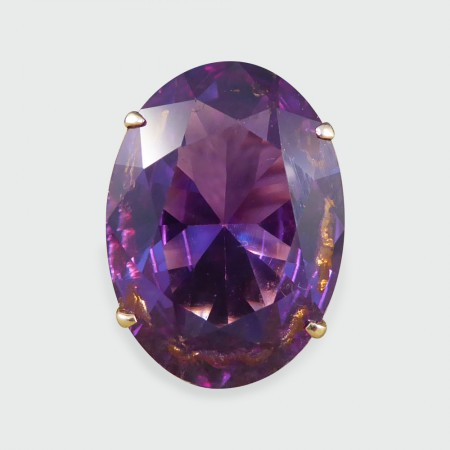 SOLD Vintage Large Synthetic Alexandrite Cocktail Ring in 14ct Yellow Gold