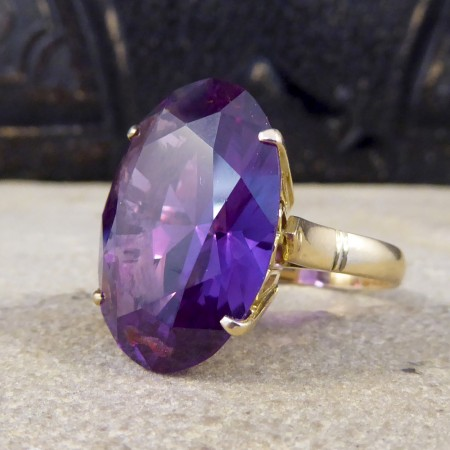 Vintage Large Synthetic Alexandrite Cocktail Ring in 14ct Yellow Gold