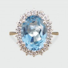 SOLD Contemporary 3.60ct Blue Topaz and Diamond Cluster Ring in 18ct White Gold