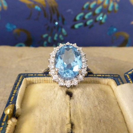 Contemporary 3.60ct Blue Topaz and Diamond Cluster Ring in 18ct White Gold