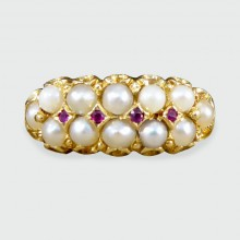 Antique Victorian Double Row Pearl and Ruby set Ring in 18ct Yellow Gold