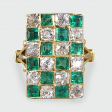SOLD Art Deco Emerald and Diamond Chequerboard Ring in 18ct Yellow and White Gold