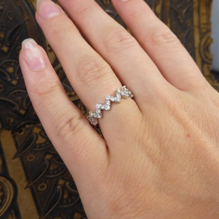 Contemporary Diamond set Zig Zag Eternity Ring in 18ct White Gold