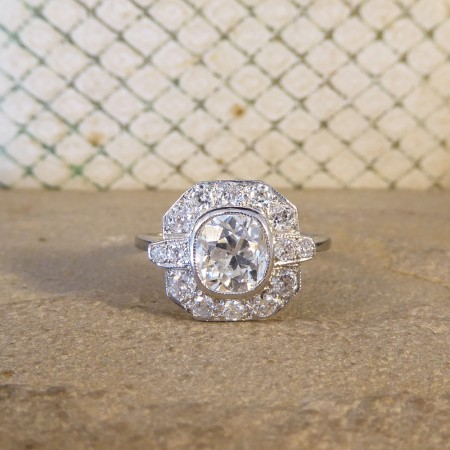 Contemporary Art Deco Style 1.21ct Cushion Cut Diamond Cluster in 18ct White Gold and Platinum