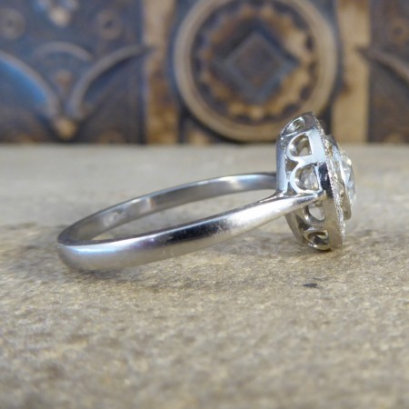 Contemporary Diamond Target Ring Modelled in 18ct White Gold and Platinum