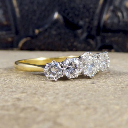 Vintage 2.15ct Five Stone Diamond Ring Large in Size in 18ct Gold