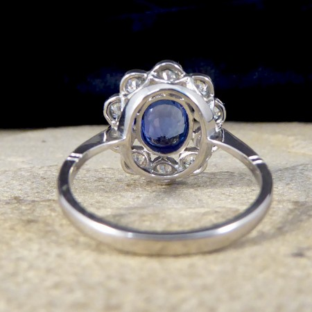 SOLD Contemporary 0.90ct Sapphire and 1.50ct Diamond Cluster Ring in Platinum