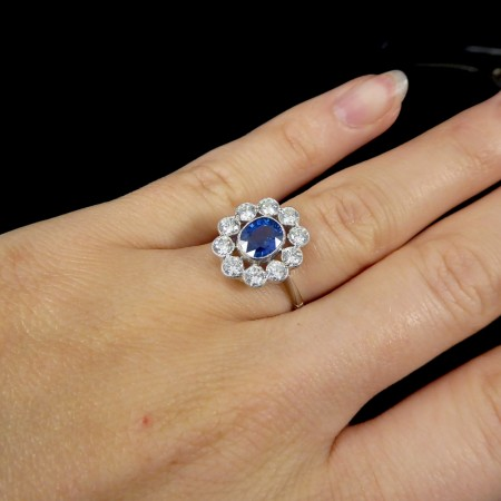 Contemporary 0.90ct Sapphire and 1.50ct Diamond Cluster Ring in Platinum