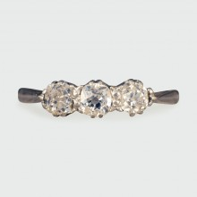 SOLD Edwardian Three Stone Diamond Ring in 18ct White Gold and Platinum