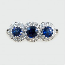 SOLD Contemporary Triple Sapphire and Diamond Cluster Ring in 18ct White Gold