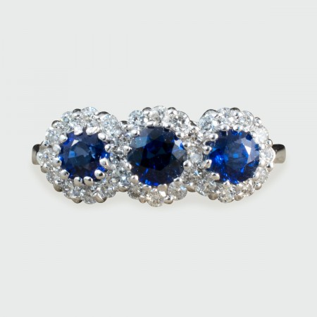 Contemporary Triple Sapphire and Diamond Cluster Ring in 18ct White Gold