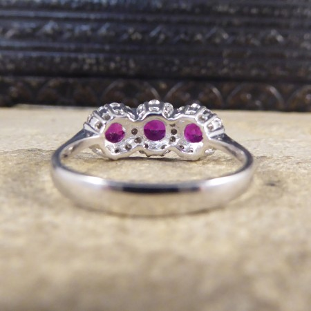 Contemporary Triple Ruby and Diamond Cluster Ring in 18ct White Gold