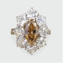 1.05ct Cognac Diamond Cluster Ring 2.97ct total in 18ct White Gold