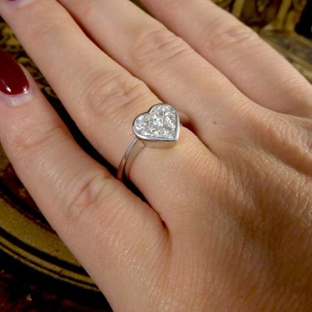 Heart Shaped 1.20ct Total Diamond Ring in 18ct White Gold