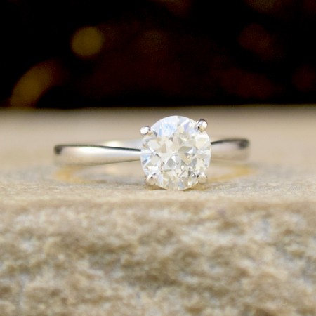 1.07ct Old European Cut Diamond Solitaire Ring in 18ct White Gold