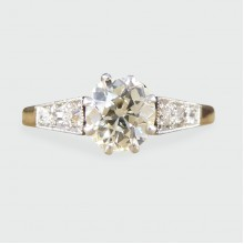 SOLD 1930's Diamond Solitaire Ring with Diamond set Shoulders in 18ct Yellow Gold and Platinum