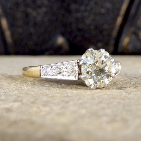 1930's Diamond Solitaire Ring with Diamond set Shoulders in 18ct Yellow Gold and Platinum