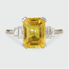 SOLD Emerald Cut Yellow Sapphire with Baguette Cut Diamond Shoulders Ring in Platinum