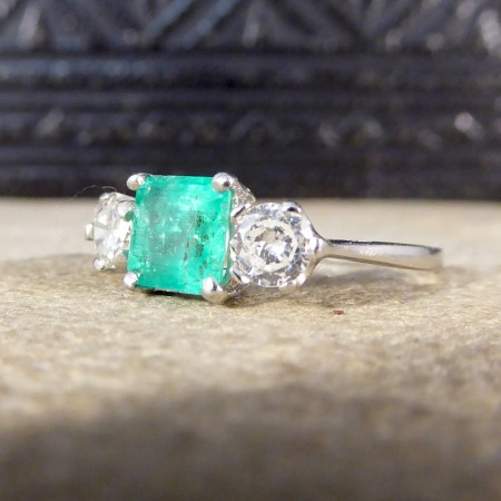 Emerald and Diamond Three Stone Ring in Platinum