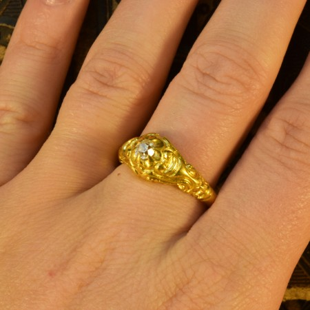 Heavy Quality Victorian Gypsy set Diamond Ring with Exquisite Detailing in 18ct Yellow Gold