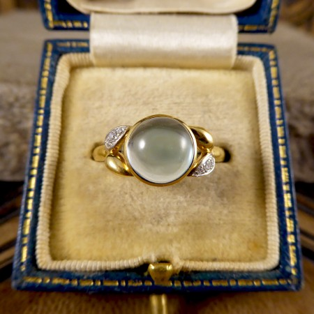 SOLD Cabochon Blue Topaz and Diamond set Ring in 18ct Yellow Gold