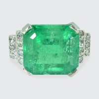 5.22ct Emerald Cut Emerald and Diamond Ring in Platinum