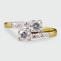 SOLD Art Deco Diamond Twist Ring in 18ct Yellow Gold and Platinum