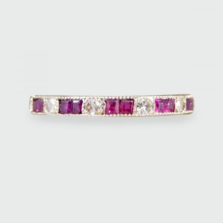 SOLD Art Deco Ruby and Diamond Full Eternity Ring in 18ct White Gold