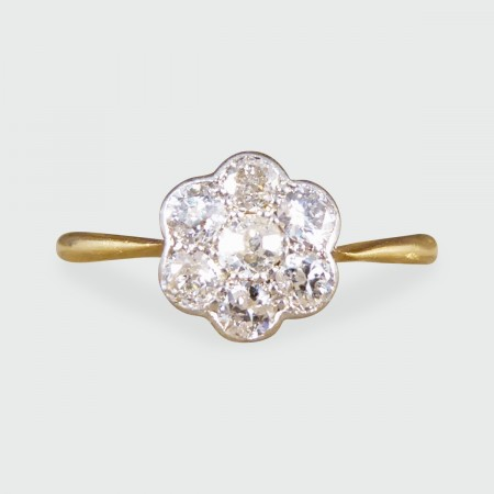 SOLD Antique Edwardian Diamond Flower Cluster Ring in 18ct Yellow Gold