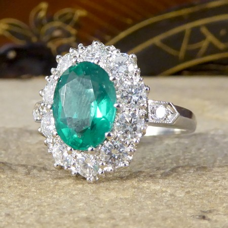 SOLD Contemporary 2.15ct Emerald and 1.30ct Diamond Cluster Ring in Platinum