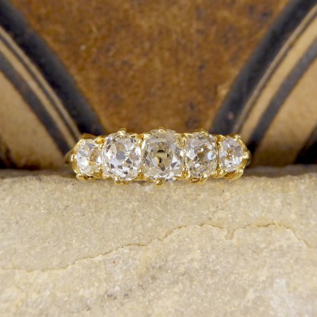 SOLD Late Victorian Old Cushion Cut Diamond Five Stone in 18ct Yellow Gold