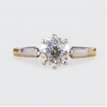 Edwardian 0.53ct Diamond Solitaire Ring in 18ct Yellow Gold and Platinum