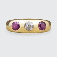 Late Victorian Ruby and Diamond Gypsy Set Band in 18ct Yellow Gold