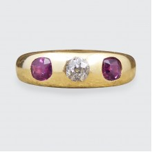 SOLD Late Victorian Ruby and Diamond Gypsy Set Band in 18ct Yellow Gold