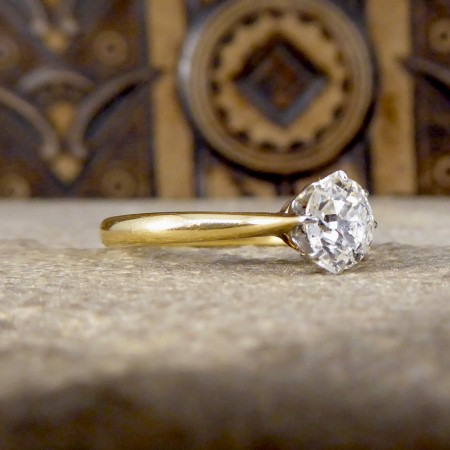 Edwardian 0.55ct Diamond Solitaire Engagement Ring in 18ct Yellow Gold and Platinum