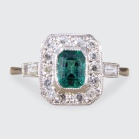 Contemporary Art Deco Style Emerald and Diamond Cluster Ring in Platinum