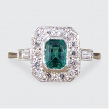 SOLD Contemporary Art Deco Style Emerald and Diamond Cluster Ring in Platinum