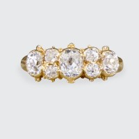 Contemporary Seven Stone Old Cut Diamond Ring in 18ct Yellow Gold