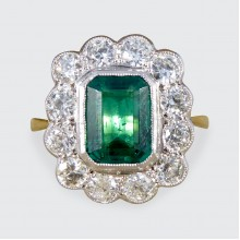 1.65ct Emerald and Diamond Cluster Ring in 18ct White and Yellow Gold