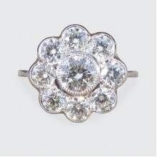 SOLD Contemporary 1.70ct Total Diamond Daisy Cluster Ring in Platinum