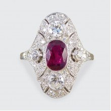 Art Deco Style Contemporary Ruby and Diamond Navette Shaped Plaque Ring in Platinum